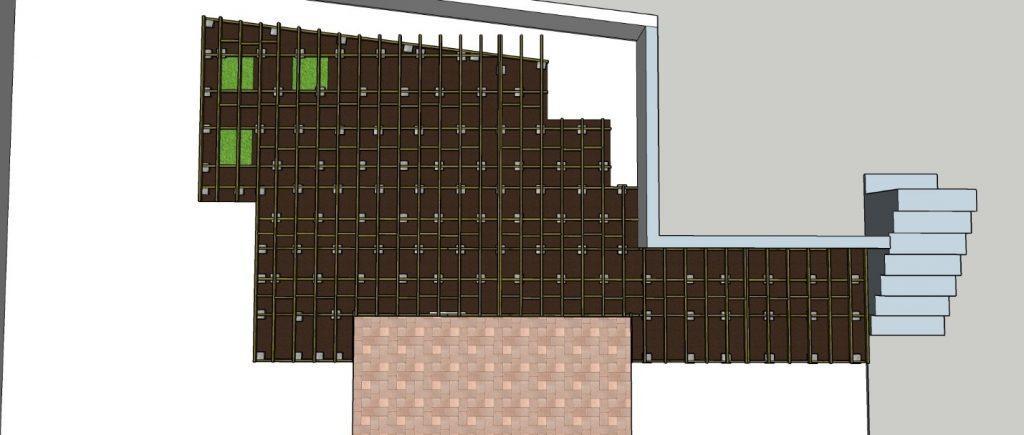 הדרכה לפיזור מרצפות הבטון תחת התשתית התחתונה במיקומים אשר בהם יהיו רגלי הדק.